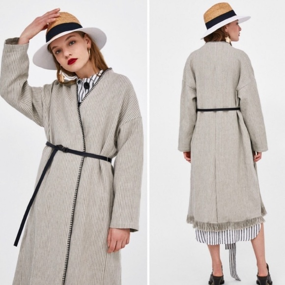ZARA | Ecru Beige Belted Linen Striped Frayed Coat